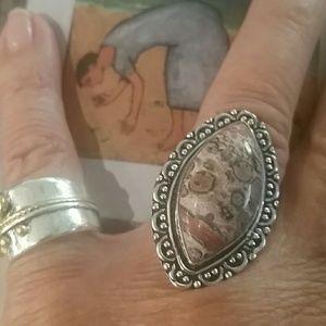 Jewelry - Leopardskin Jasper 925 sterling silver ring 7 1/2